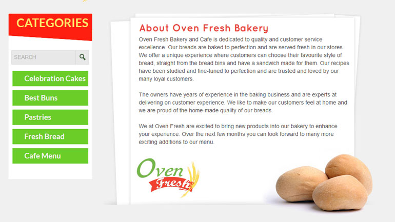 Oven Fresh Bakery About Page