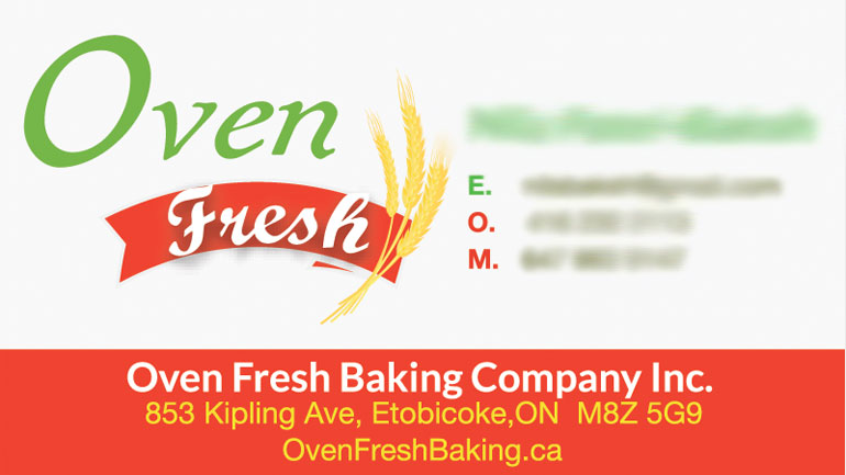 Oven Fresh Bakery Business Card