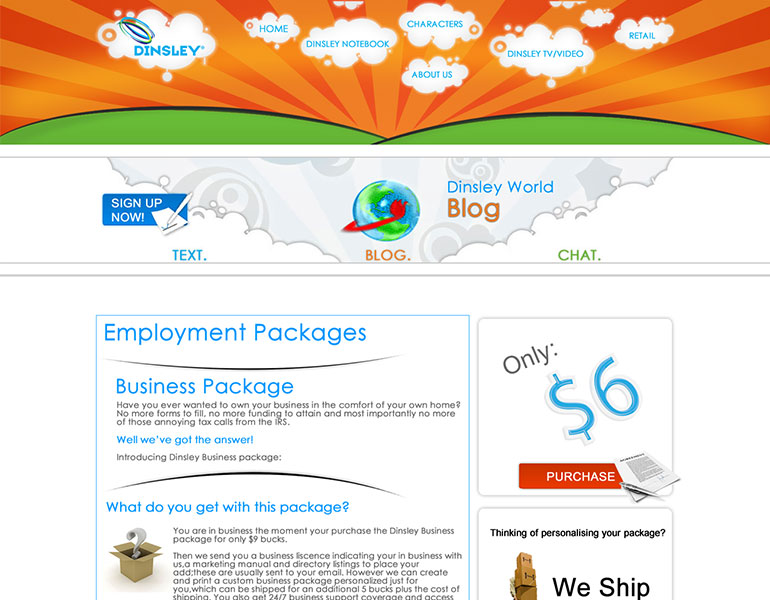Dinsley LLC Website Employment Packages Page