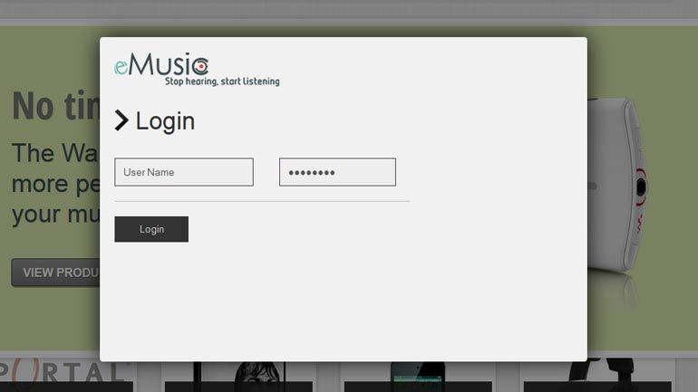 eMusic login screen