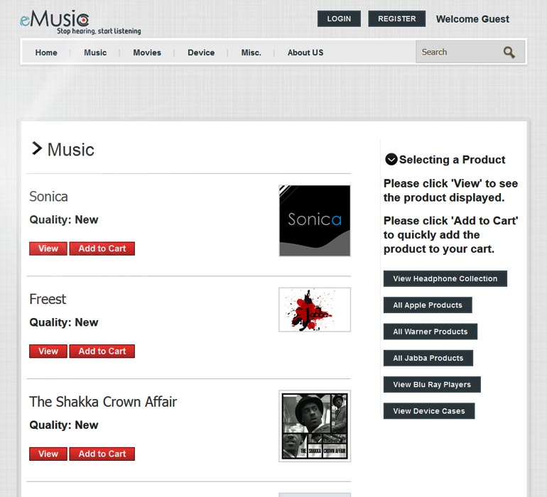 eMusic shopping list