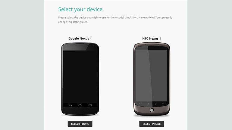 Device Select Screen - users can select a device for the tutorial