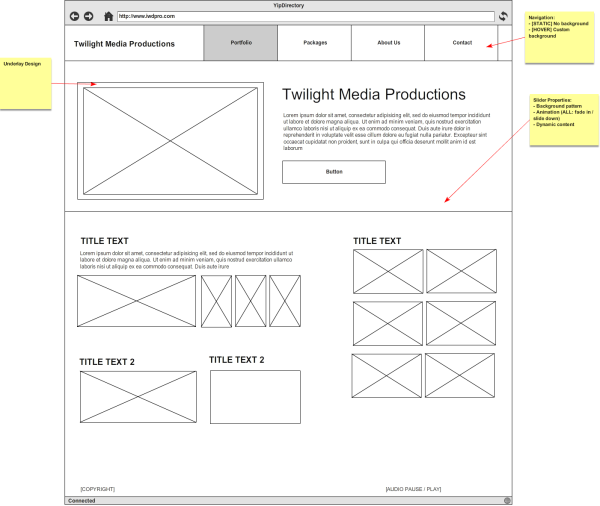 Twilight Media Productions Wireframe