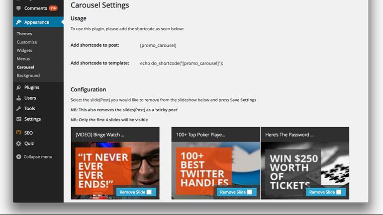 Carousel plugin menu (see home page)
