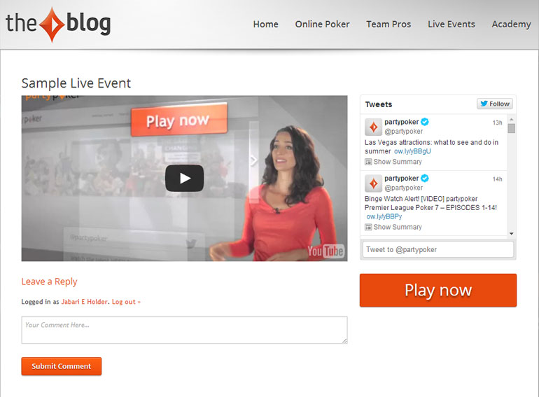 <strong>Live Events Plugin</strong> - Fully customizable plugin that allows for various options and interaction for blog visitors