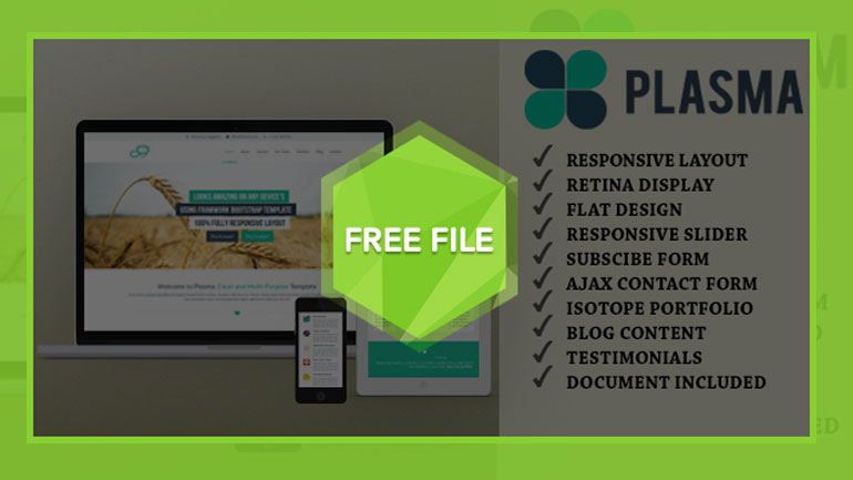 Free One Page Responsive HTML Template Plasma